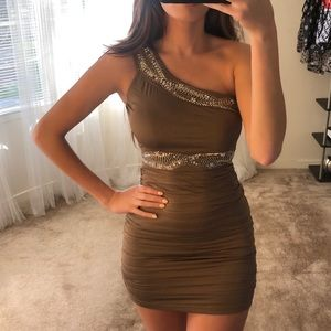 One Shoulder Taupe Beaded Mini Dress